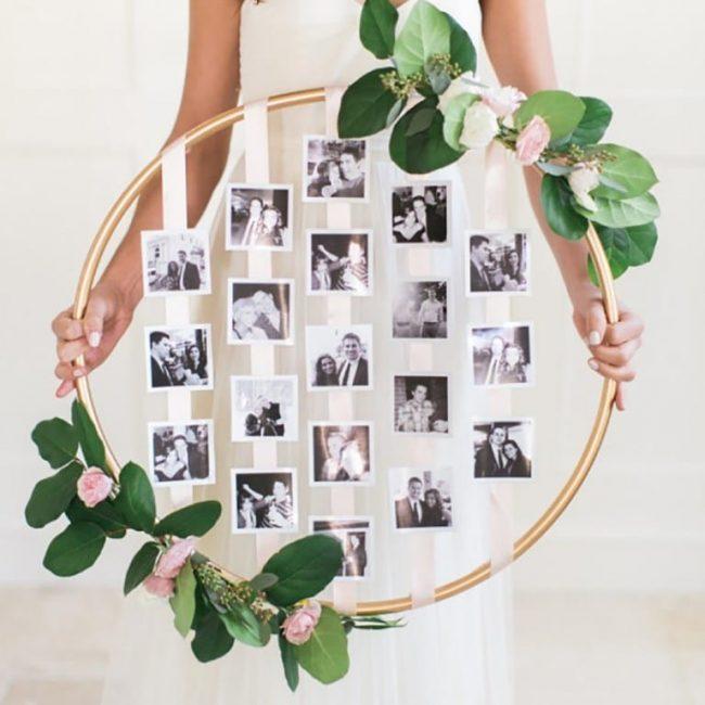 10 idées d'affichage de photos de mariage romantique - Une